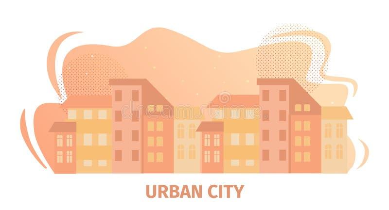 Αστικό οριζόντιο έμβλημα πόλεων με την άποψη εικονικής παράστασης πόλης απεικόνιση αποθεμάτων