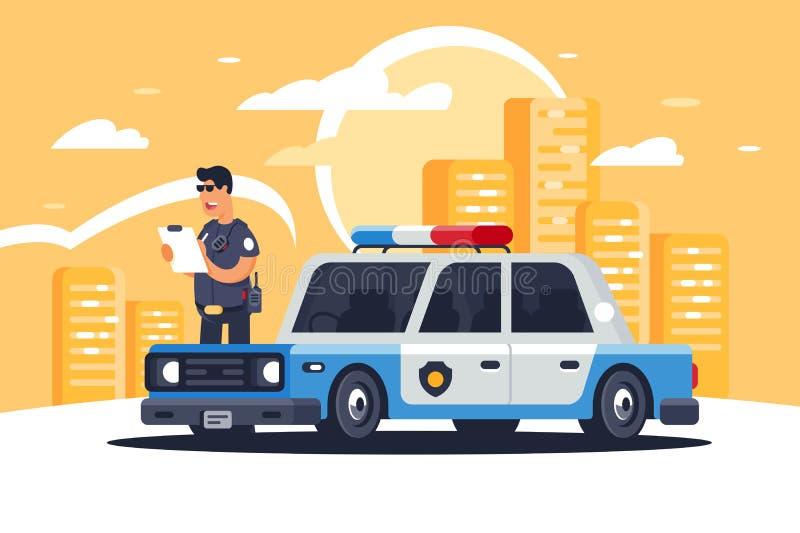 Αστικό σύγχρονο περιπολικό της Αστυνομίας φορείων με τον αστυνομικό για την προστασία των ανθρώπων στο υπόβαθρο της πόλης ελεύθερη απεικόνιση δικαιώματος