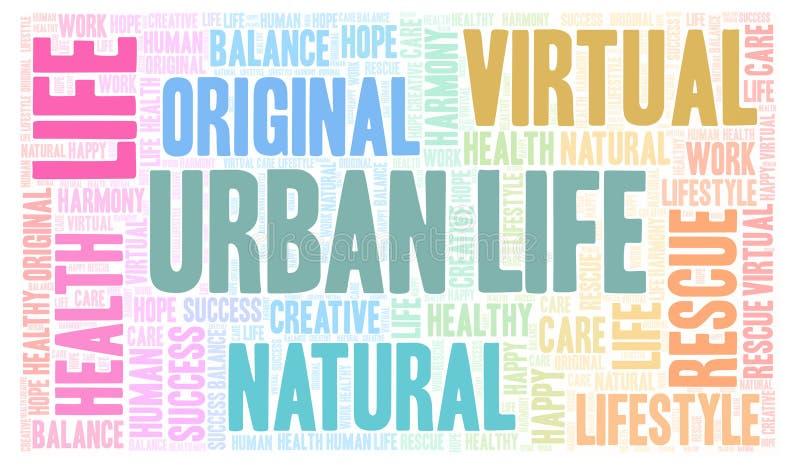 Αστικό σύννεφο λέξης ζωής απεικόνιση αποθεμάτων