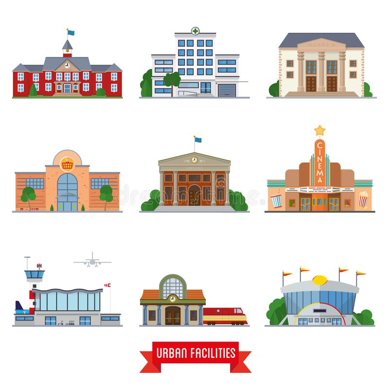 Αστικό σύνολο εικονιδίων εγκαταστάσεων και δημόσιων κτιρίων διανυσματικό διανυσματική απεικόνιση