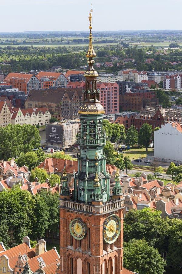 Αστικό τοπίο, εναέρια άποψη της παλαιάς πόλης του Γντανσκ, Πολωνία στοκ εικόνες