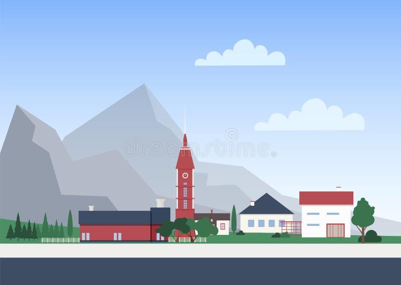 Αστικό τοπίο με την πόλη ή χωριό με τα ιδιωτικά σπίτια ή τα κατοικημένα κτήρια, τον πύργο παρεκκλησιών και τα δέντρα cityscape ελεύθερη απεικόνιση δικαιώματος