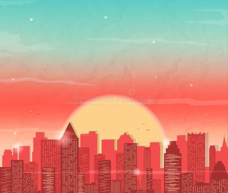 Αστικό τοπίο με τον ουρανοξύστη Ηλιοβασίλεμα στην πόλη Διανυσματική ανασκόπηση απεικόνιση αποθεμάτων