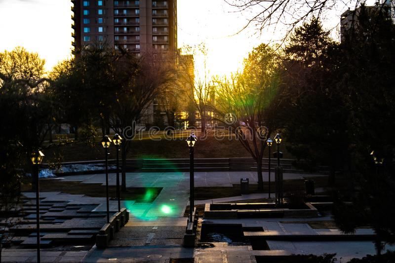 Αστικό τοπίο, μοναδικό συγκεκριμένο πάρκο στοκ φωτογραφίες με δικαίωμα ελεύθερης χρήσης