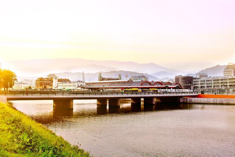 Αστικό τοπίο πόλεων του Μάλμοε, Σουηδία, έκδοση εικόνας με Photoshop στοκ φωτογραφία με δικαίωμα ελεύθερης χρήσης
