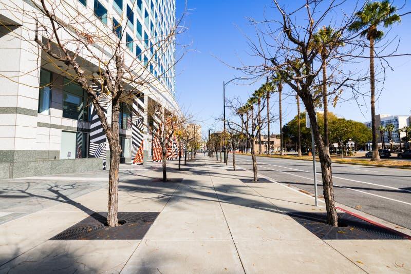 Αστικό τοπίο στο στο κέντρο της πόλης San Jose, Σίλικον Βάλεϊ, νότος SAN στοκ εικόνα