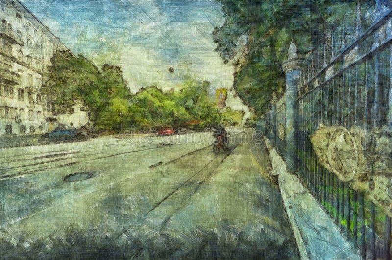 Αστικό τοπίων χρώμα κτυπημάτων βουρτσών της Μόσχας αφηρημένο ελεύθερη απεικόνιση δικαιώματος