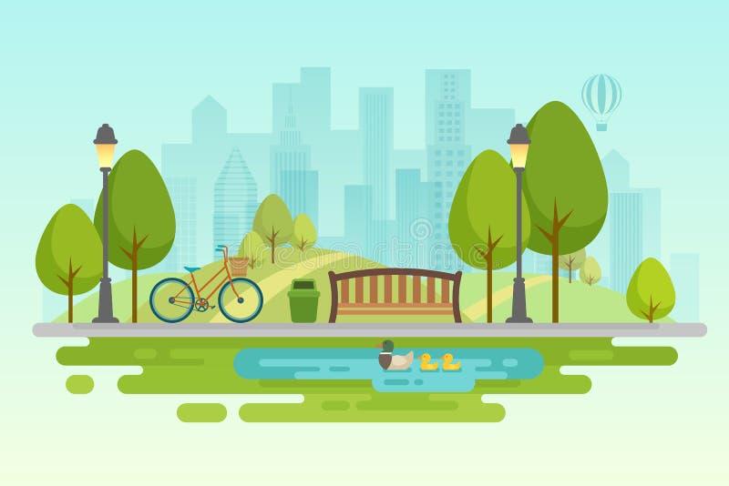 Αστικό υπαίθριο ντεκόρ πάρκων πόλεων, πάρκα στοιχείων και αλέες διανυσματική απεικόνιση