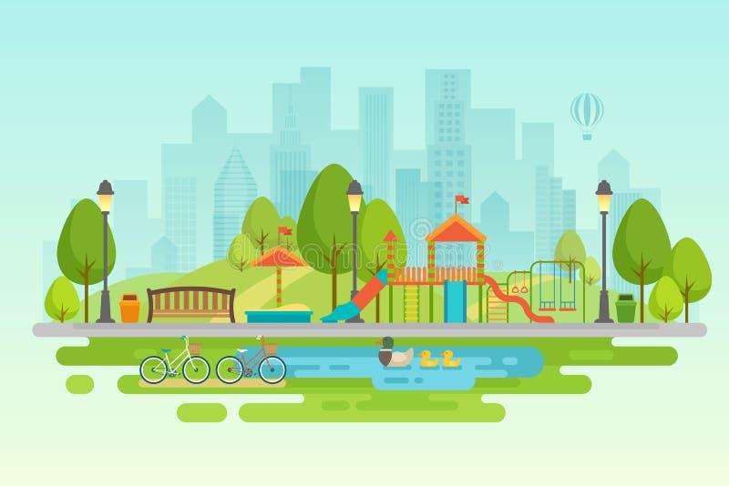 Αστικό υπαίθριο ντεκόρ πάρκων πόλεων, πάρκα στοιχείων και αλέες ελεύθερη απεικόνιση δικαιώματος