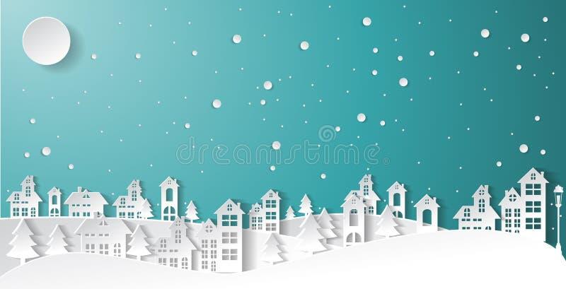 Αστικό χωριό πόλεων τοπίων επαρχίας χειμερινού χιονιού τέχνης εγγράφου στοκ εικόνα