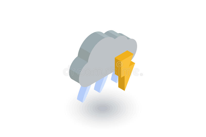 Αστραπή, θύελλα βροντής, βροχή και isometric επίπεδο εικονίδιο σύννεφων τρισδιάστατο διάνυσμα διανυσματική απεικόνιση