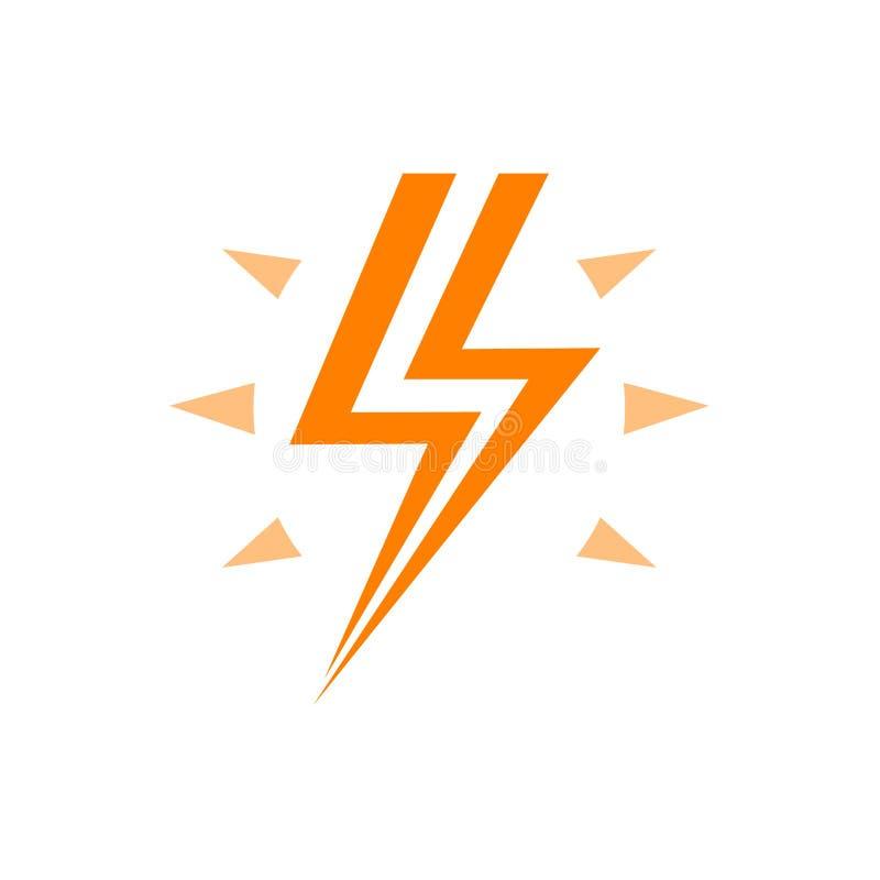 Αστραπή με το πορτοκαλί διανυσματικό λογότυπο λάμψης, το ενεργειακό σύμβολο και την προειδοποίηση της υψηλής τάσης στο ηλεκτρικό  απεικόνιση αποθεμάτων