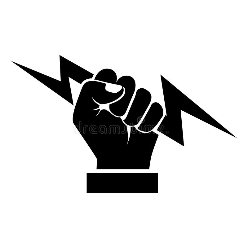 Αστραπή που κρατά τη υπό εξέταση μαύρη σκιαγραφία διανυσματική απεικόνιση