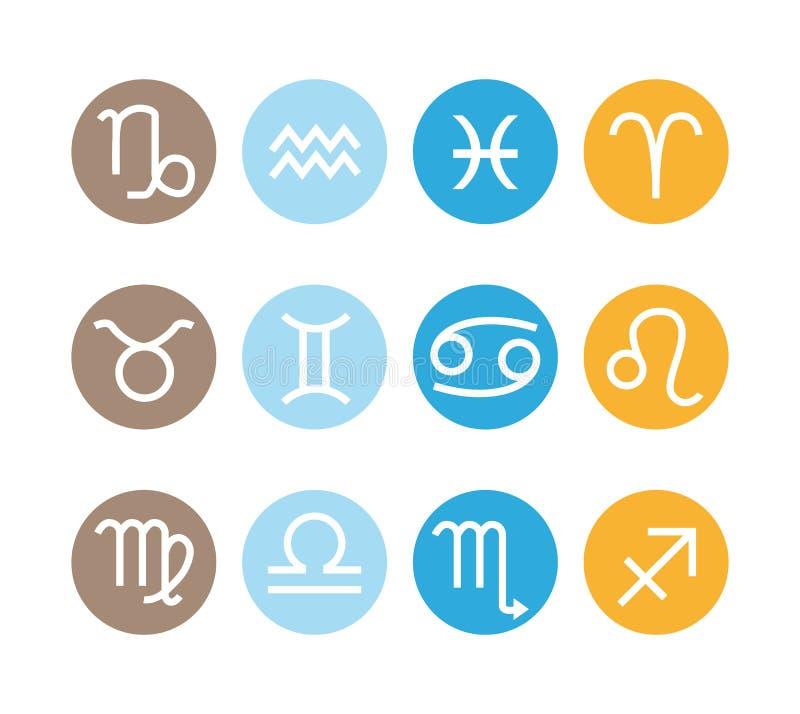 12 αστρολογικά σημάδια Διανυσματικά zodiac εικονίδια καθορισμένα απεικόνιση αποθεμάτων
