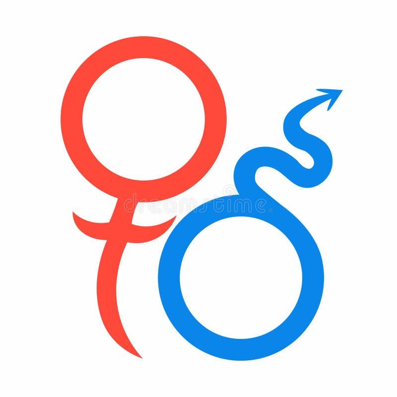 Αστρολογικά σύμβολα του Άρη και της Αφροδίτης της αγάπης επίσης corel σύρετε το διάνυσμα απεικόνισης απεικόνιση αποθεμάτων