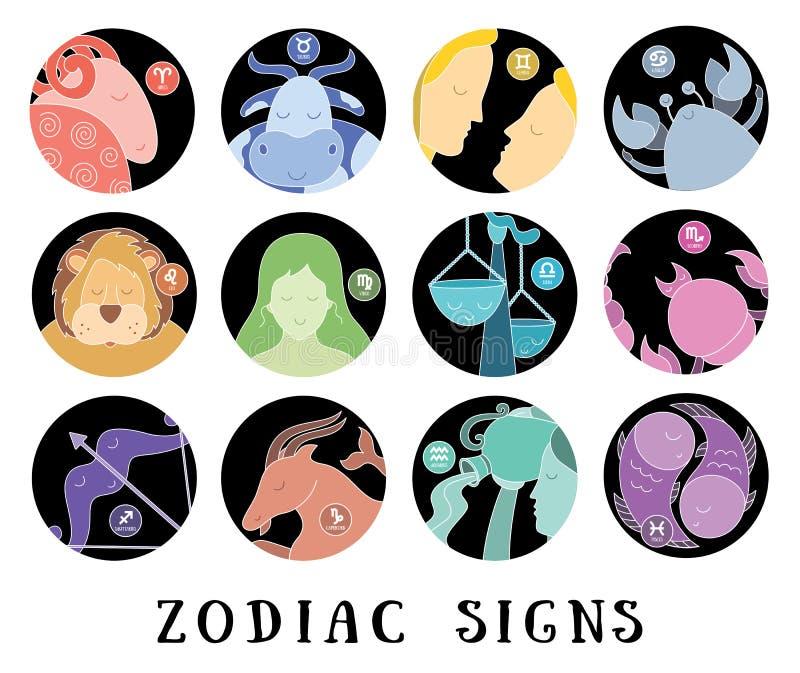 Αστρολογική ημερολογιακή συλλογή Zodiac σημάδια: Υδροχόος, libra, leo, taurus, καρκίνος, pisces, virgo, Αιγόκερος, sagittarius, a απεικόνιση αποθεμάτων