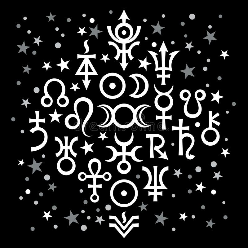 Αστρολογικό καθορισμένο №20 ( αστρολογικά σημάδια και απόκρυφο μυστικό symbols) , ουράνιο σχέδιο με τα αστέρια απεικόνιση αποθεμάτων