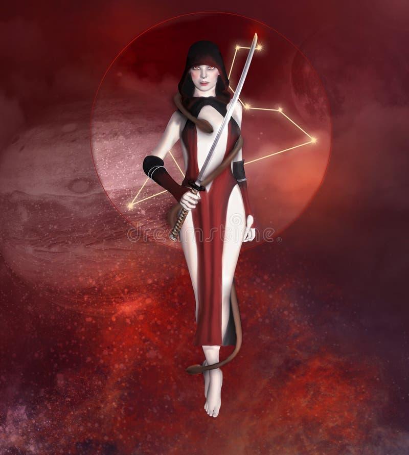 Αστρολογικό σημάδι του Leo ως γυναίκα με ένα ξίφος απεικόνιση αποθεμάτων