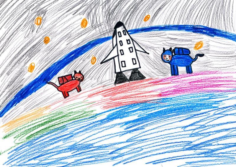 Αστροναύτες σκυλιών. σχέδιο παιδιών. στοκ εικόνες