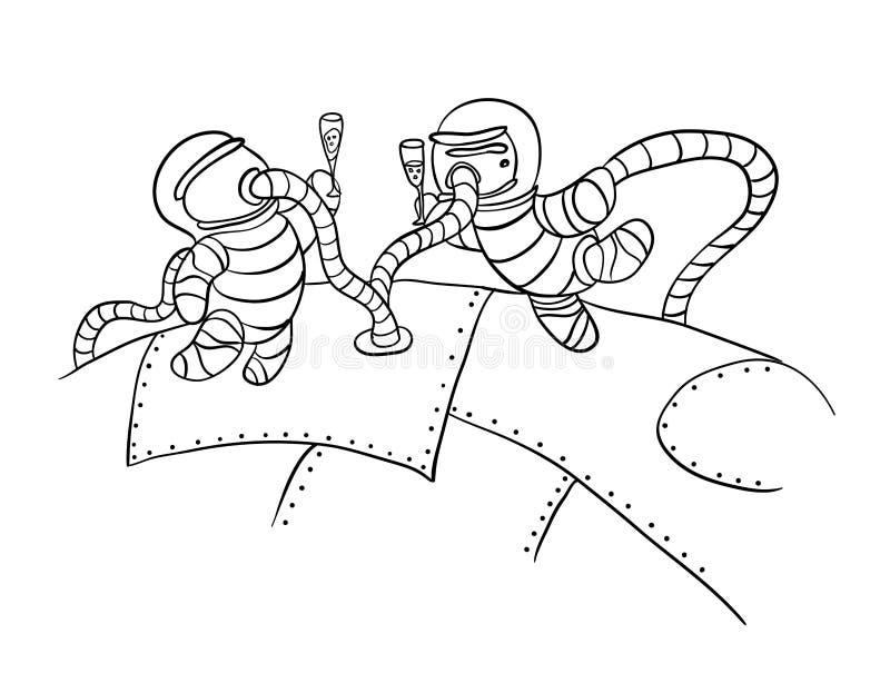 Αστροναύτες στο μακρινό διάστημα, διάνυσμα ελεύθερη απεικόνιση δικαιώματος