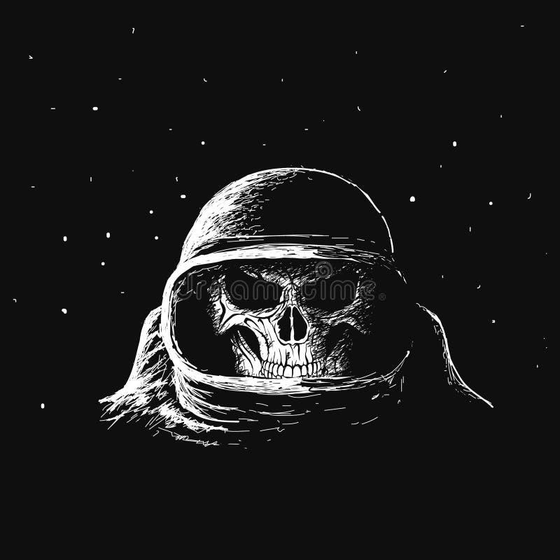 Αστροναύτης κρανίων στο μακρινό διάστημα απεικόνιση αποθεμάτων