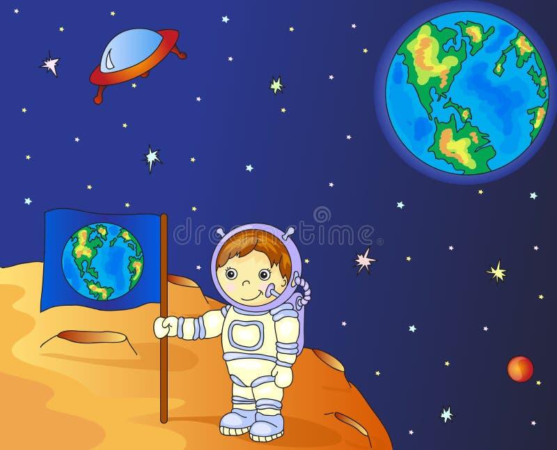Αστροναύτης με τη γήινη σημαία στην επιφάνεια φεγγαριών στο διάστημα ελεύθερη απεικόνιση δικαιώματος