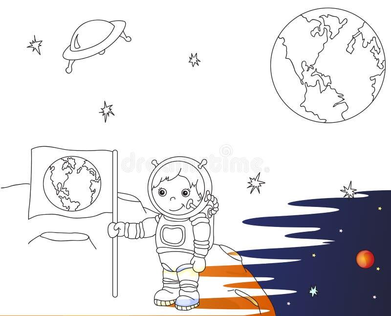 Αστροναύτης με τη γήινη σημαία στην επιφάνεια φεγγαριών στο διάστημα χρωματισμός ελεύθερη απεικόνιση δικαιώματος