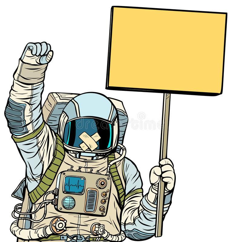 Αστροναύτης με τη διαμαρτυρία φιμωμάτων Απομονώστε στην άσπρη ανασκόπηση απεικόνιση αποθεμάτων