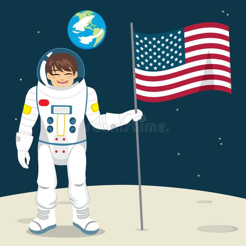 Αστροναύτης με τη σημαία ελεύθερη απεικόνιση δικαιώματος