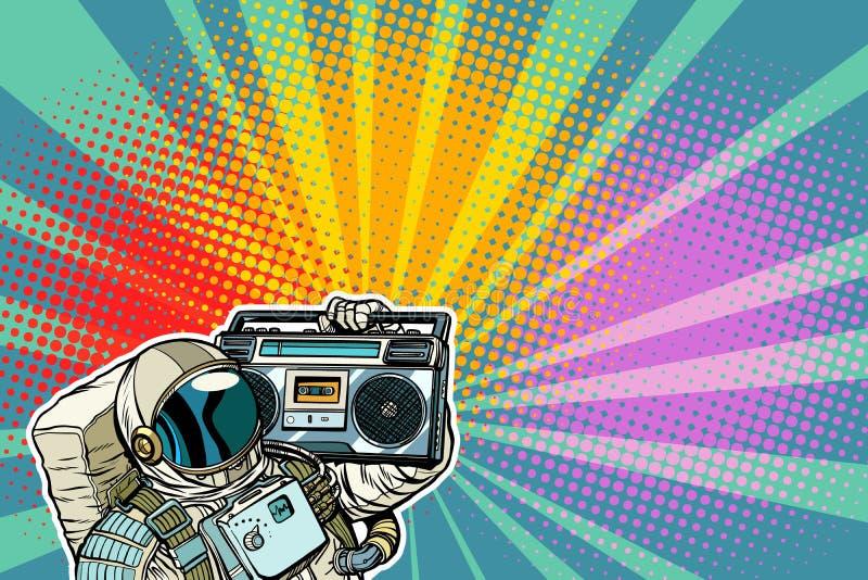 Αστροναύτης με Boombox, τον ήχο και τη μουσική διανυσματική απεικόνιση