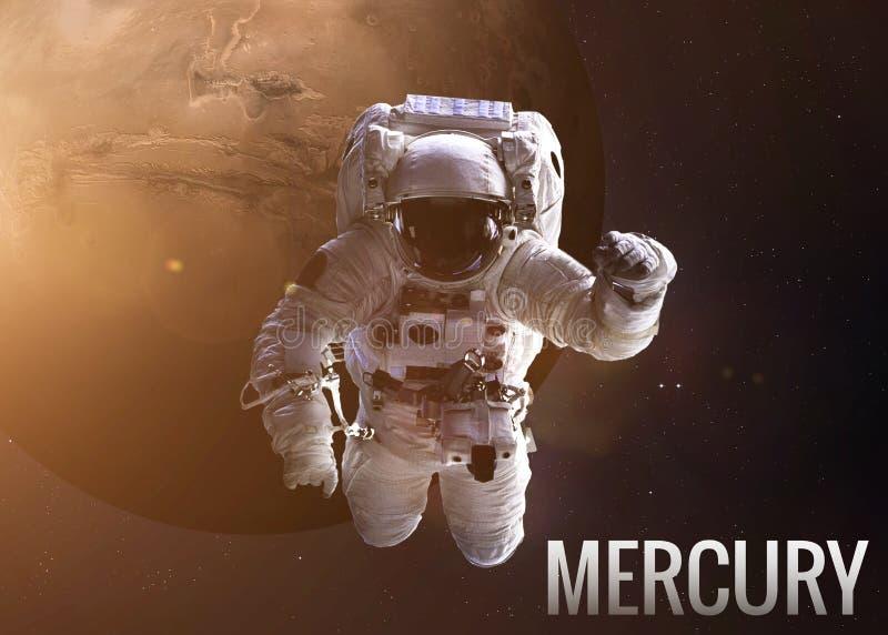 Αστροναύτης που ερευνά το διάστημα στην τροχιά υδραργύρου διανυσματική απεικόνιση