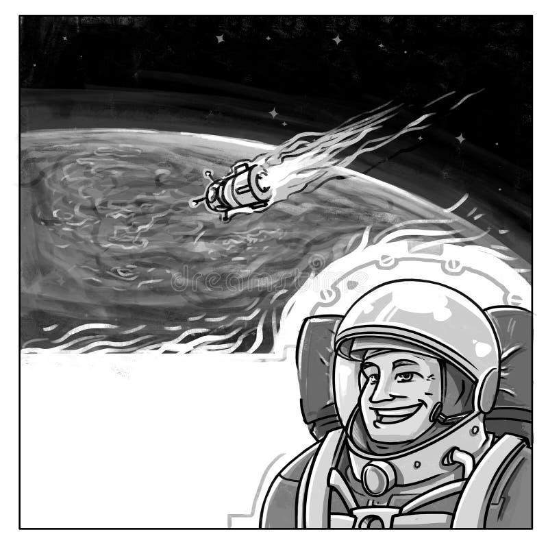 Αστροναύτης που προσγειώνεται κάτω από το ύφος comics στοκ φωτογραφίες