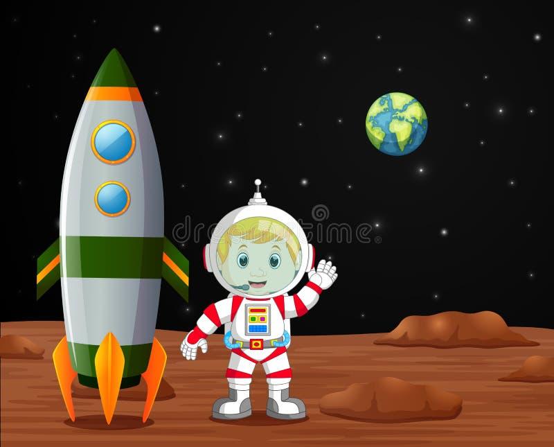 Αστροναύτης που στέκεται στην απεικόνιση πλανητών στοκ φωτογραφία με δικαίωμα ελεύθερης χρήσης