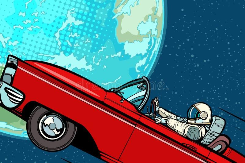Αστροναύτης σε ένα αυτοκίνητο πέρα από το πλανήτη Γη απεικόνιση αποθεμάτων