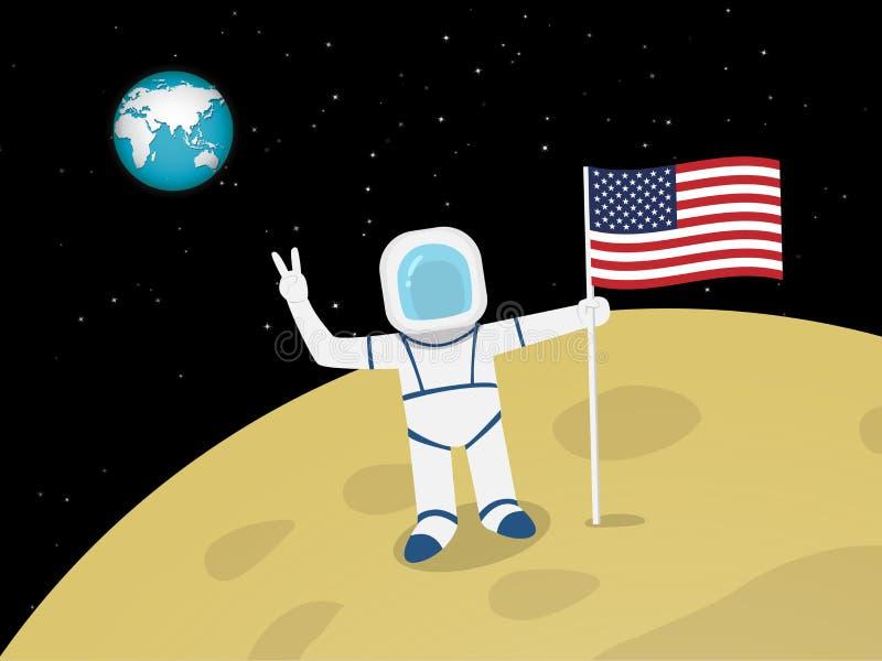 Αστροναύτης στην επιφάνεια φεγγαριών με την αμερικανική σημαία, διάνυσμα ελεύθερη απεικόνιση δικαιώματος