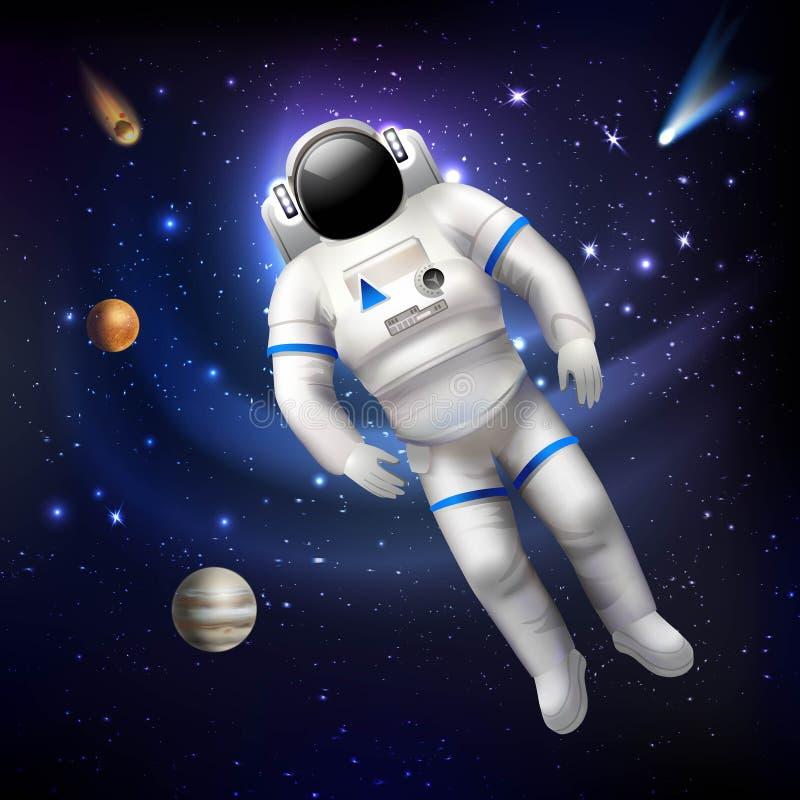 Αστροναύτης στο διάστημα διανυσματική απεικόνιση