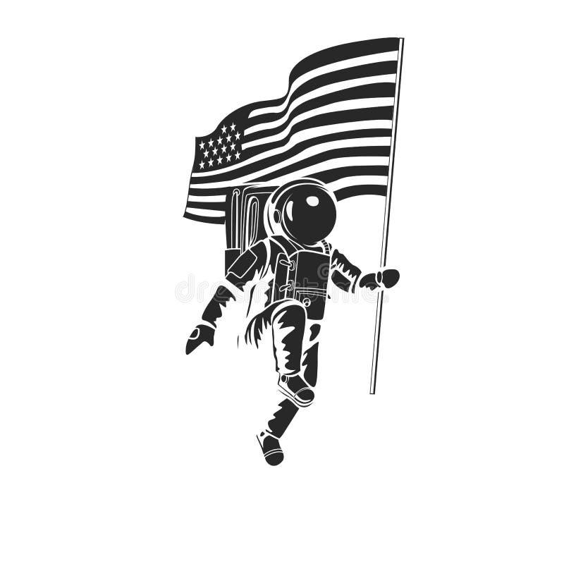 Αστροναύτης στο φεγγάρι με τη αμερικανική σημαία απεικόνιση αποθεμάτων