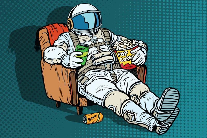 Αστροναύτης το ακροατήριο με τη συνεδρίαση μπύρας και popcorn σε μια καρέκλα απεικόνιση αποθεμάτων