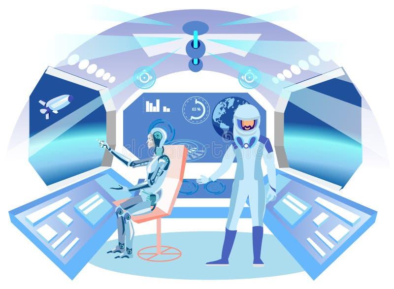 Αστροναύτης Humanoid στην επίπεδη απεικόνιση διαστημοπλοίων ελεύθερη απεικόνιση δικαιώματος