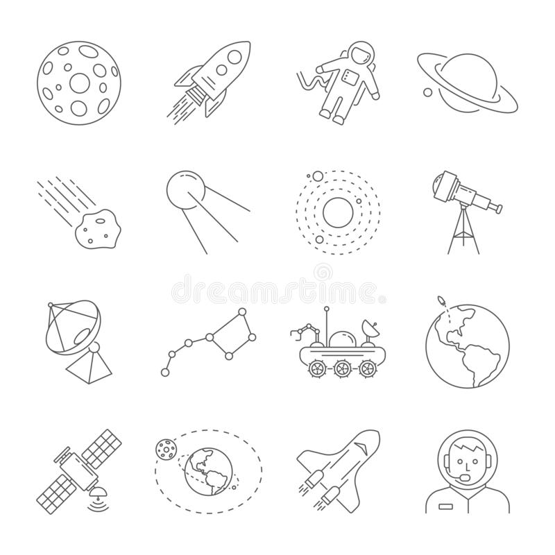 Αστρονομία και διαστημική συλλογή συμβόλων Λεπτά εικονίδια γραμμών του διαστημικού θέματος Περιέχει τέτοια εικονίδια όπως το φεγγ ελεύθερη απεικόνιση δικαιώματος