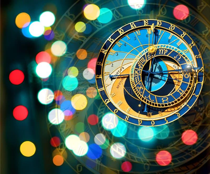 Αστρονομική 'Ένδειξη ώρασ' της Πράγας στην ανασκόπηση Χριστουγέννων στοκ φωτογραφίες