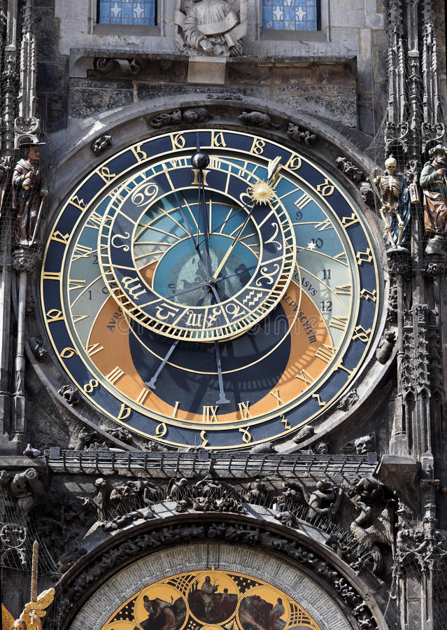 αστρονομική ρολογιών πόλη της Πράγας αιθουσών παλαιά στοκ εικόνες