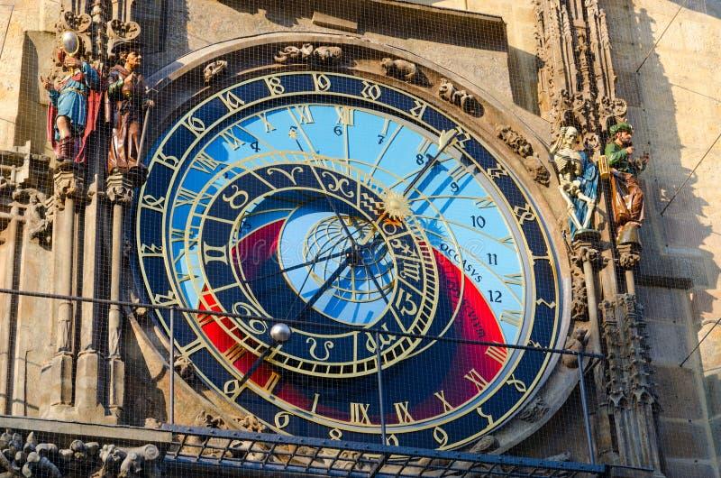 Αστρονομικό ρολόι της Πράγας, ή Orloj στο παλαιό Δημαρχείο στην Πράγα, Δημοκρατία της Τσεχίας στοκ φωτογραφίες