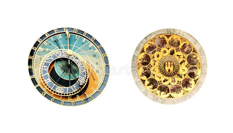 Αστρονομικό ρολόι στην παλαιά πλατεία της πόλης στην Πράγα - που απομονώνεται στοκ φωτογραφία