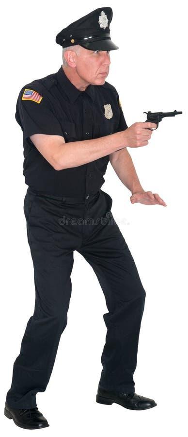 Αστυνομία, αστυνομικός, ανώτερος υπάλληλος, πυροβόλο όπλο, που απομονώνεται στοκ εικόνες με δικαίωμα ελεύθερης χρήσης