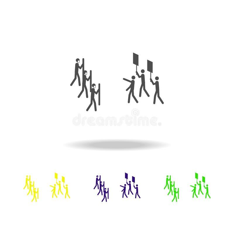 αστυνομία ενάντια στα πολύχρωμα εικονίδια διαμαρτυρομένων Στοιχεία της διαμαρτυρίας και του εικονιδίου συναθροίσεων Σημάδια και ε ελεύθερη απεικόνιση δικαιώματος