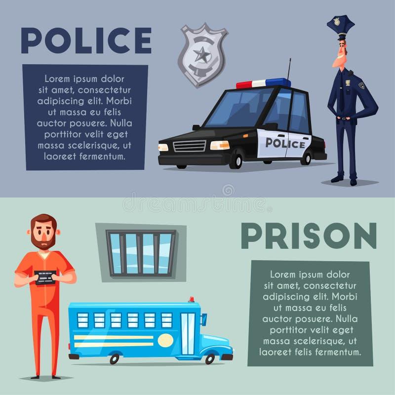 Αστυνομία και φυλακή η αλλοδαπή γάτα κινούμενων σχεδίων δραπετεύει το διάνυσμα στεγών απεικόνισης διανυσματική απεικόνιση