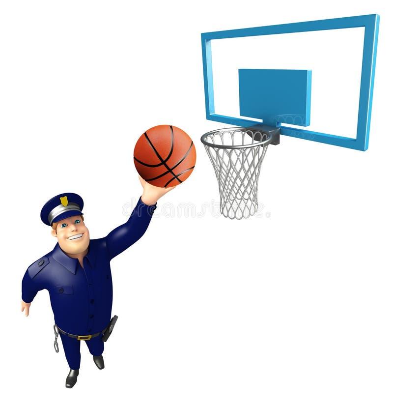 Αστυνομία με το καλάθι και τη σφαίρα καλαθιών διανυσματική απεικόνιση