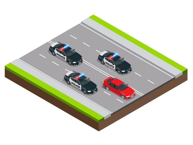 Αστυνομία στην αναζήτηση ενός εγκληματία με ένα κλεμμένο αυτοκίνητο ή μια υπό την επήρρεια οινοπνεύματος οδήγηση, επιτάχυνση Isom ελεύθερη απεικόνιση δικαιώματος