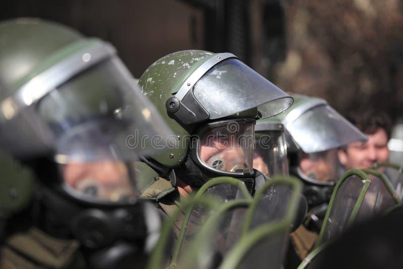 Αστυνομία ταραχής στη Χιλή στοκ φωτογραφία με δικαίωμα ελεύθερης χρήσης